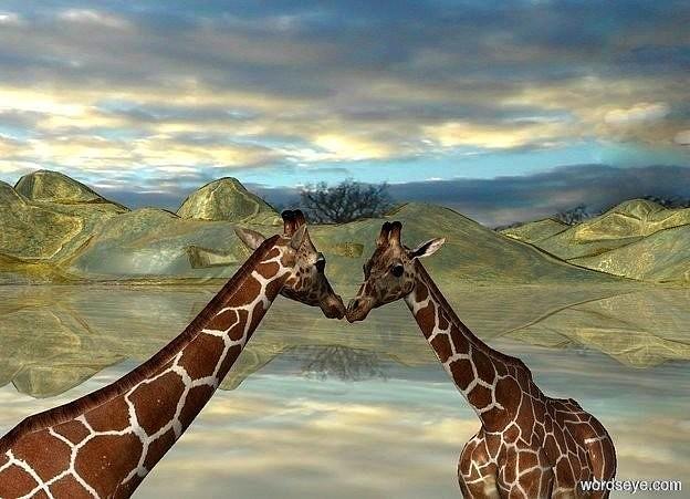 Input text: a 1st 20 inch tall giraffe.a 2nd 20 inch tall giraffe is 0.1 inch in front of the 1st giraffe.the 2nd giraffe is facing the 1st giraffe.ground is  gold.ground is 90 feet tall.sky is 40000 inch wide cloud.