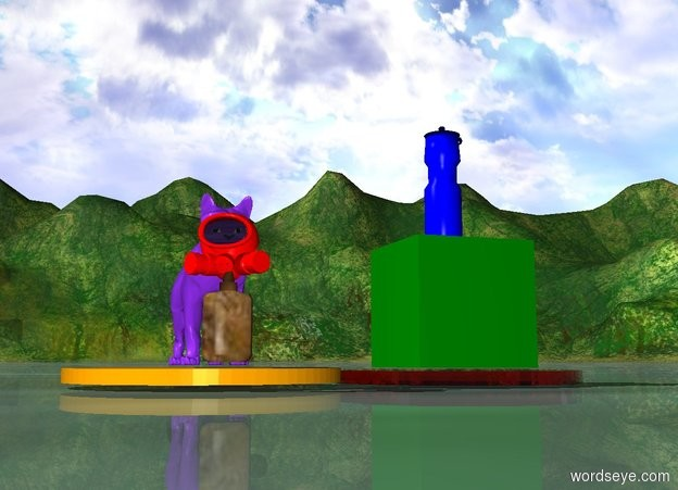 Input text: small green cube is on red glass disk. near red disk is orange disk. little blue-violet cat is on this orange disk.  tiny blue bottle is on top of green cube. small wood bottle is in front of cat. very little red gas mask is on top of wood bottle.