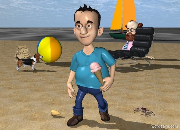 Input text: a man is on a beach.the ground is sea.a chair is 10 feet behind the man.the chair is facing southwest.a 2 feet tall sand castle is 7 feet left of the chair.the castle is facing southeast.a large ice cream cone is -13 inches right of the man.the ice cream cone is leaning 25 degrees to the east.the ice cream cone is 2.5 feet above the ground.the ice cream cone is -9 inches in front of the man.a toy is right of the castle.a boat is 60 feet behind the toy.the boat is facing northwest.the boat is 4 feet in the ground.a crab is 6 inches right of the man.the crab is facing northeast.the crab is behind the man.a shell is 4 inches left of the man.the shell is face up.the shell is facing left.a dog is 2 feet in front of the toy.the dog is facing the chair.a professor is behind the chair.the professor is facing the dog.