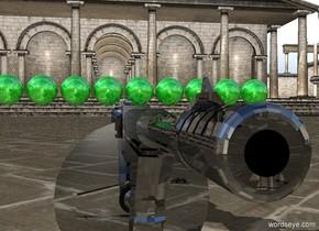 10 very tiny green shiny spheres are on a black shiny gun