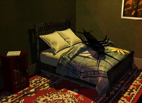 A humongous black shiny insect is on a 40% dark [metal] bed. It is upside down. It is facing southeast. It is leaning 5 degrees to the front. The blanket of the bed is [cotton]. The pillow of the bed is cream. The bed is on a huge [rug] rug. The rug is facing east. A 40% dark [dirt] wall is 6 inch behind the bed. A 20 feet long 50% dark cream plank is 2 inch in front of the wall. It is leaning 90 degrees to the back. A painting is in front of and -3 feet above and -8.5 feet right of the wall. A 20% dark [dirt] wall is 5 inch left of the bed. It is facing east. The ground is [floor]. The azimuth of the sun is 220 degrees. The sun is brown. A 20 feet long 20% dark cream plank is 4 inch right of the wall. It is leaning 90 degrees to the back. It is facing east. Camera light is black. A lemon light is 5 feet above the insect. A cabinet is 1.2 feet in front of and -1.5 feet left of the bed. It is facing east. A [paper] book is on the cabinet. It is facing southwest. It is leaning 90 degrees to the back. A dim red light is right of the bed. A bottle is 7 inches right of the cabinet. It is leaning 90 degrees to the back. It is facing the insect.