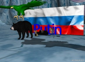 """the tv is 4 feet in front of the sofa. The dog is 1 feet to the left of the sofa. The small cat is on the sofa. A small chair is 2 feet to the right of the sofa. A big cat is on the chair. The huge blue """"Putin"""" is 3 feet behind the sofa. The big [russia] wall is 8 feet behind the sofa. the big black bear is 10 feet in front of the sofa. A huge green eagle is above the bear."""