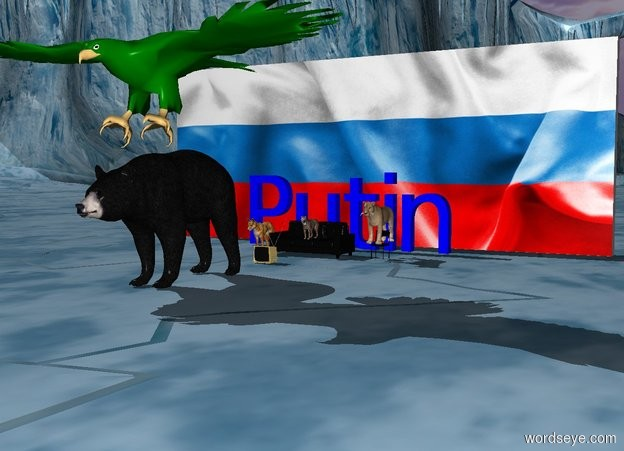 """Input text: the tv is 4 feet in front of the sofa. The dog is 1 feet to the left of the sofa. The small cat is on the sofa. A small chair is 2 feet to the right of the sofa. A big cat is on the chair. The huge blue """"Putin"""" is 3 feet behind the sofa. The big [russia] wall is 8 feet behind the sofa. the big black bear is 10 feet in front of the sofa. A huge green eagle is above the bear."""