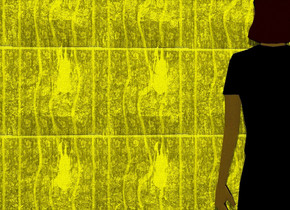 the sun is lemon chiffon. a 1st gigantic shiny wall. it is 5 foot wide [wallpaper]. the camera light is black. 12 yellow lights are 10 feet above and 5 foot in front of the wall.  a 2nd gigantic yellow wall is 35 feet in front of the 1st wall. it is 15 foot wide [horror]. a very large flat woman is in front of the 1st wall. she faces back. she is 15 feet above the ground.  a light is 5 feet above and 5 feet behind the 2nd wall.