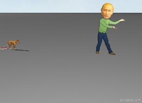 Small dog with steak runs to Putin