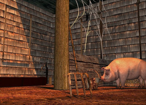 a house. 2  old gold lights are -6 feet above the house. a pig is -11.5 feet in front of and -11.4 feet to the right of the house. it faces northeast. a 5 feet tall 2 inch thick wood wall is -15 feet above and -11 feet to the front of the house. it leans 90 degrees to the back. a 8 feet tall and 1 feet wide log is -13 feet to the front of and -8  feet right of the house. a 2 feet tall and 7 feet long  flat [wood] wall is in front of the log. it faces left. a trough is -14 feet in front of and -3 feet right of the house. a pump is -.4 feet in front of the trough. a 1 feet tall  and 2.5 feet wide bale of hay is .7 feet in front of the pig.  a 6 feet tall spider web is -6 feet above and .3 feet in front of the log. it faces left. a large black spider is -3.7 feet above and -2.5 feet to the back of the spider web. it faces right.it leans 90 degrees to the back. a small [metal] bucket is 3 inches in front of and 3 inches left of the log. the ground is dirt. a pitchfork is .2 feet northwest of the log. it faces southeast. it leans 40 degrees to the front. the fork of the pitchfork is [metal]. the handle of the pitchfork is [wood]. the camera light is 30% old gold. a 70% shell pink gray light is -16 feet above and 12 feet to the front of the house.