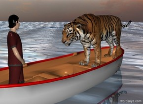 a 4.5 foot tall tiger is -1.2 foot over and -9 feet behind a large boat. the boat is 1 foot in the ground. a brown person is -2 feet over and -4 feet in front of the boat. he faces the tiger. the ground is 10 foot wide shiny water. the ground is 10 feet tall.