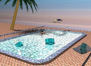 a tile pool is 4.2 feet in the ground. the water of the pool is shiny cyan. 1st 1 feet tall aqua ice cube is -10 feet left of and -9 feet in front of and -1.9 feet above the pool.it leans to the southeast. the ladder of the pool is [metal]. the ground is 1 feet wide [tile]. a clear cadet blue 3 feet wide lake is -16 feet in front of and -3 feet right of and -1.34 feet above the pool. 2nd 1 feet tall and .8 feet wide and .8 feet deep clear turquoise ice cube is -.3 feet above the lake. it leans to the northwest. a 100 feet long 20 feet tall wall behind the pool is 30 feet long  [tropical]. 3rd 1.4 feet tall clear aqua ice cube is 2.7 feet behind and 2.2 feet right of the 1st ice cube. it is -2 feet above the pool. it leans to the northeast. the sun's azimuth is 250 degrees. the sun's altitude is 68 degrees. a 1.5 feet wide [dirt] circle is  2 feet left of and -12 feet behind  the pool. it is on the ground. a small palm tree is -6 feet above the circle. it leans 23 degrees to the left. a 1.6 feet tall man is .6 feet above and -11 feet behind the pool. he faces back.he leans to the back. a  3.3 feet tall woman is -12 feet to the back of and -8 feet to the left of and -3.6 feet above the pool. she faces left. the garb of the woman is 5 inch tall [beach].