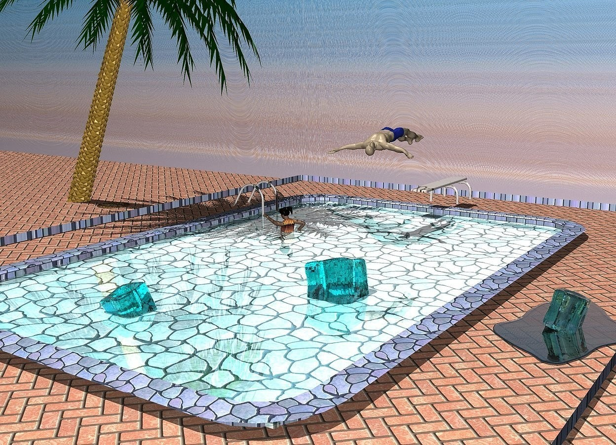 Input text: a tile pool is 4.2 feet in the ground. the water of the pool is shiny cyan. 1st 1 feet tall aqua ice cube is -10 feet left of and -9 feet in front of and -1.9 feet above the pool.it leans to the southeast. the ladder of the pool is [metal]. the ground is 1 feet wide [tile]. a clear cadet blue 3 feet wide lake is -16 feet in front of and -3 feet right of and -1.34 feet above the pool. 2nd 1 feet tall and .8 feet wide and .8 feet deep clear turquoise ice cube is -.3 feet above the lake. it leans to the northwest. a 100 feet long 20 feet tall wall behind the pool is 30 feet long  [tropical]. 3rd 1.4 feet tall clear aqua ice cube is 2.7 feet behind and 2.2 feet right of the 1st ice cube. it is -2 feet above the pool. it leans to the northeast. the sun's azimuth is 250 degrees. the sun's altitude is 68 degrees. a 1.5 feet wide [dirt] circle is  2 feet left of and -12 feet behind  the pool. it is on the ground. a small palm tree is -6 feet above the circle. it leans 23 degrees to the left. a 1.6 feet tall man is .6 feet above and -11 feet behind the pool. he faces back.he leans to the back. a  3.3 feet tall woman is -12 feet to the back of and -8 feet to the left of and -3.6 feet above the pool. she faces left. the garb of the woman is 5 inch tall [beach].