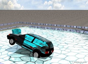 a tile pool is 4.2 feet in the ground. the water of the pool is shiny cyan. 1st 1 feet tall aqua ice cube is -10 feet left of and -9 feet in front of and -1.9 feet above the pool. it leans to the southeast. the ladder of the pool is [metal]. the ground is 1 feet wide [tile]. a clear cadet blue 3 feet wide lake is -16 feet in front of and -3 feet right of and -1.34 feet above the pool. 2nd 1 feet tall and .8 feet wide and .8 feet deep clear turquoise car is -.3 feet above the lake. car leans to the northwest. a 100 feet long 20 feet tall wall behind the pool is 30 feet long [tropical]. 3rd 1.4 feet tall clear aqua car is 2.7 feet behind and 2.2 feet right of the 1st ice cube. car is -2 feet above the pool. car leans to the northeast. the sun ' s azimuth is 250 degrees. the sun ' s altitude is 68 degrees. a 1.5 feet wide [dirt] circle is 2 feet left of and -12 feet behind the pool. it is on the ground. a small palm tree is -6 feet above the circle. it leans 23 degrees to the left. a 1.6 feet tall man is .6 feet above and -11 feet behind the pool. he faces back. he leans to the back. a 3.3 feet tall woman is -12 feet to the back of and -8 feet to the left of and -3.6 feet above the pool. she faces left. the garb of the woman is 5 inch tall [beach].