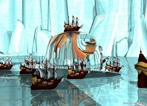 a silver humongous hat. the water ground is 800 feet tall. the sky is [old].   The extremely tiny ship is on the hat. A second extremely tiny ship is -2 feet to the left of the hat. A third extremely tiny ship is -3 feet in front of the hat. A fourth extremely tiny ship is -3 feet behind the hat. A fifth extremely tiny ship is to the right of the hat. It is -2 feet in front of the fourth ship. A sixth extremely small ship is to the right of the hat. It is -4.5 feet behind the third ship. The seventh extremely small ship is 5 feet to the left and 4 feet in front of the second ship. A 8th extremely tiny ship is 4 feet behind and to the right of the hat. A 9th extremely tiny ship is 12 feet to the right and in front of the 8th ship. The tenth extremely tiny ship is 14 feet to the left and in front of the fourth ship.
