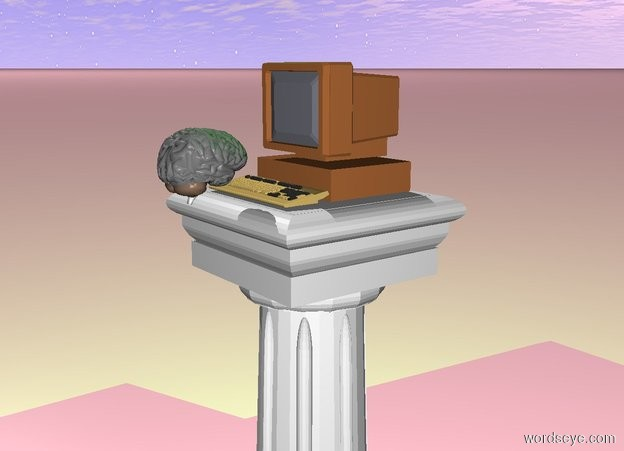 Input text: The Computer is on top of the pedestal.The ground is pink. There is a green light above the computer. The brain is in front of the computer. The brain is facing the computer.