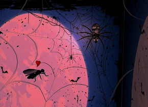 a 1 foot tall white spider web is -1 foot above and -1 foot to the right of and -1 foot behind a 2 foot tall [night] cube. a [old] spider is -.5 foot above and in front of the spider web. the spider leans 80 degrees to the front. the camera light is pink. a insect is in front of and .1 foot to the left of and -.3 foot above the spider.  the insect faces the spider. it leans to the back. a 1st .03 foot tall heart is -.02 foot above and -.08 foot to the right of the insect.