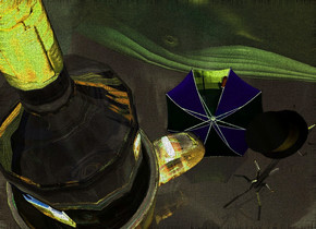 A [castle] bottle is on a shiny [black] cup. The ground is clear. A whale is in the sky. It is facing northeast. It is upside down. 8 lemon lights are below the whale. 2 purple lights are above the whale. A green light is east of the whale. A 7 inch high shiny black coatrack is 0.3 inch behind and -1.5 inch right of the cup. A 1 inch high dark brown texture hat is -1 inch above and -2.8 inch behind the coatrack. It is leaning 40 degrees to the front. A 4 inch high dark blue umbrella is left of the coatrack. It is upside down.