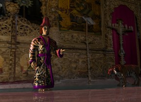 A small maroon texture hat is -5 inch above and -19 inch in front of a man. It is facing north. The clothes of the man is [oriental]. A large [indoor] wall is 2 feet behind the man. The floor is marble. Camera light is black. A light is 8 feet left of the man. The sun is scarlet. A tiger is 5 feet right of the man. It is facing west.