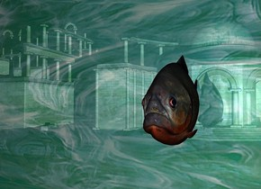 a  700 inch tall and 900 inch wide  shiny wall.the  wall is 900 inch wide [glass].it is night.a 180 inch tall piranha is -450 inch above the  wall.the piranha is facing south.the piranha is -1 inch in front of the wall.the piranha is -200 inch right of the wall.