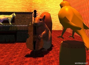 a invisible polar bear is on a large tile floor. a  8 foot tall [wood] double bass is in front of and to the right of the polar bear. it faces the guitar. it leans back. a 8 foot tall squirrel is -3 feet to the right of and -5 feet behind the double bass. the squirrel faces the double bass. a huge drum is 4 foot in front of and -2 foot to the left of the polar bear. a 4 foot tall bird is over the drum. the bird faces the squirrel. a large [wood] piano is behind and to the right of the squirrel. it faces left. a 1st huge silver wall is to the right of the floor. it faces right.  a 2nd huge [wall] wall is -3 feet to the left of the floor. it faces left. it is noon. the sun is brown.  a 3rd huge [wall] wall is in front of the floor.  the camera light is black. 2 tangerine lights are 20 feet above the squirrel. a purple light is -1 feet  above and to the left of and -2 feet in front of the squirrel.a 3 foot tall white cat is -3.5 feet above and -1 foot to the left of the piano .
