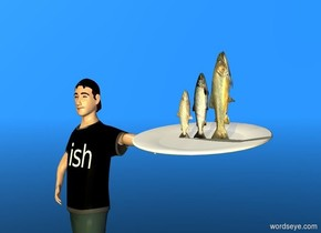 """a person.a large plate is -1.3 foot above and -.5 foot to the right of and -1 foot in front of the person. the plate leans 10 degrees to the front. a 1st 1.3 foot deep fish is -.3 foot above and -.9 foot to the right of the plate. it faces right.  it leans 90 degrees to the back. a 2nd small fish is to the left of the 1st fish. it faces right. it leans 90 degrees to the back. a 3rd very small fish is to the left of the 2nd fish. it faces right. it leans 90 degrees to the back.  a white flat .4 foot tall """"ish"""" is -.2 foot in front of and -1.6 feet above the person. a sphere is 5 feet in front of and to the left of the person. the """"ish"""" faces the sphere. the """"ish"""" leans 10 degrees to the back. the sky is dodger blue.  1 gold light is 10 feet in front of the 2nd fish. the ground is clear."""