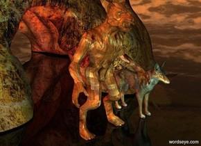 a werewolf.the werewolf is skin.a wolf is right of the werewolf.the wolf's eye is yellow.the werewolf's eye is yellow.a cave is behind the werewolf.clear ground.a red light is 5 feet behind the werewolf.a 50% green light is 5 feet in front of the werewolf.the sky is [night].the sun is old gold.