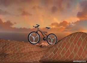 ground is 300 inch wide brick.sky is 5000 feet tall.ground is 50 feet tall.a 760 inch tall silver mountain bicycle is 140 inch above the ground.the mountain bicycle is facing east.the mountain bicycle leans 3 degrees to back.