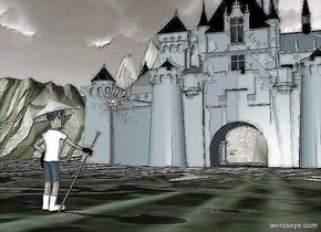 a castle.the castle's barrier is sea spray blue.a man is 80 feet in front of the castle.the man is facing the castle.the man's hat is white.the man's shirt is white.the man's boot is white.the man's glove is black.a staff is -5 inches right of the man.the staff is leaning 45 degrees to the north.a star is above the staff.the star is behind the staff.a malachite green light is 10 feet in front of the man.the ground is 260 feet tall.the star is rust.the ground is field.