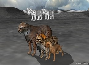 two white tigers above three cats next to two dogs