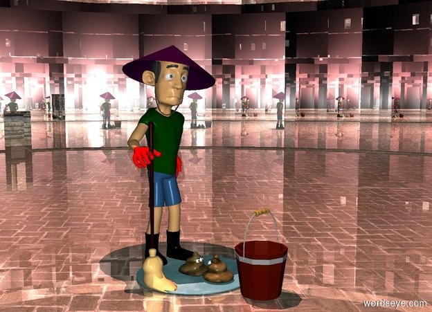 Input text: a silver structure.a man is -60 feet in front of the structure.the man's glove is red.the man's hat is purple.a bucket is 1.5 feet in front of the man.a mop is -7 inches left of the man.the mop is  -6 inches in front of the man.the ground is shiny.a puddle is behind the bucket.a 1st poo is on the puddle.the man's boot is black.a 2nd poo is in front of the 1st poo.the 2nd poo is facing the 1st poo.a 40% red light is 6 feet above the man.