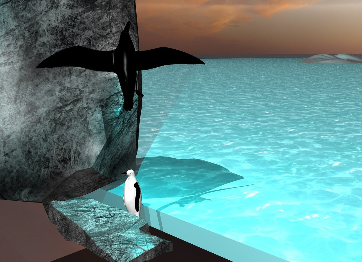 Input text: the fat penguin is in the mountains. the penguin faces left. huge grey rock is behind the penguin. big grey rock is to the left of the penguin. big black petrel is 3 feet above the penguin. the petrel faces up.  The cyan light is two feet above the penguin. sea is to the right of the penguin. clouds above the sea.