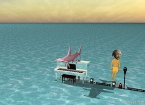 The ground is water. The pink shark is on reflective piano. Very big orange einstein is in 15 meters
