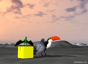 big pigeon next to big Translucent bird.    green green big bat on yellow cube