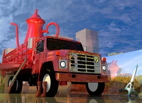 A shiny 30% dark maroon truck is -29.5 feet in Tennessee. Tennessee is dark and shiny. A 15 feet high shiny 60% dark maroon teapot is in the truck. It is facing northeast. The grille of the truck is silver. A huge tree is 10 feet in front of the truck. A 50% dark shiny [crop] wall is 2 feet right of and -17 feet in front of the truck. It is facing east. It is leaning 20 degrees to the front. A huge dark shiny gun is -1 feet left of the truck. It is leaning 25 degrees to the back. A [leather] pair is 5 feet in front of and -6.3 feet above the gun. The pair is facing southwest. A 5 feet high [Paris] Eiffel Tower is right of and in front of the truck. It is leaning 25 degrees to the front. A red light is right of the truck. A marmalade light is 5 feet left of and above the truck. The sun is cream.