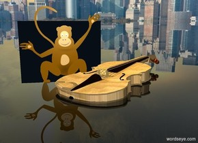 the ground is clear. a wood violin is 1 inch in the ground. it faces southwest. it leans 5 degrees to the front. a gold light is .1 foot above the violin. a very small monkey is -.7 foot to the left of the violin. the background is city.
