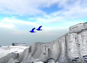 a marble is 300 feet to the left of a sphere. a 1st gigantic blue bird is 100 feet over and 80 feet behind the marble. the ground is white [dover]. a 2nd gigantic blue bird is above and behind the 1st bird.