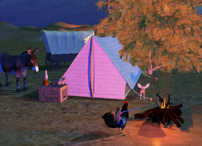 a [texture] tent.a campfire is 2 feet in front of and -1 feet right of the tent. a orange light  is -.9 feet above and -.8 feet in front of the campfire.a red light is .1 inch in front of the orange light. a wood crate is in front of and -3 feet left of the tent. it is upside down.a tree is -5 feet behind and -8 feet right of the tent. a donkey is -.5 feet left of and -3 feet to the front of the tent. it faces the crate. a [peacock] chicken is .8 feet in front of and -.2 feet left of the campfire.it faces the campfire. a squirrel is -1.2 feet above the chicken. it leans back.it faces the campfire. a 1.2 feet tall lantern is on and -.8 feet left of the crate.a copper light is -.8 feet above the lantern. a shiny flame is -.88 feet above and -2.1 feet left of and -1.37 feet in front of the campfire. the camera light is blue.the sun is sea spray blue. the ambient light is pond blue. the sun's azimuth is 80 degrees. a fennec is 2.5 feet behind and -.7 feet left of the campfire. it faces the campfire. a .7 feet tall  mouse is right of the lantern. it faces the campfire. a 1.9 feet tall and .5 inch thick [wood] tube is -.46 feet above and -.45 feet right of the chicken. it leans 72 degrees to the left. a   mango orange pickle is -.2 feet above and -.2 feet right of the tube. 2 dim peru lights are 1 inch in front of and -.2 feet above the pickle. a covered wagon is 3 feet behind and -2 feet left of the tent. it faces northeast.