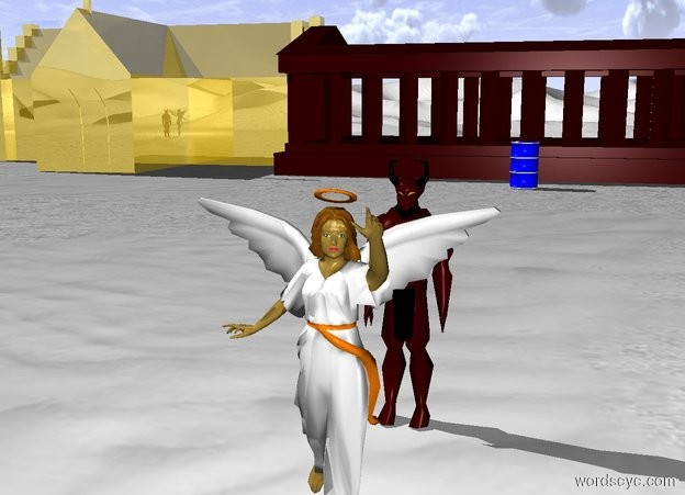 Input text: Devil is 4 feet behind the angel. Ground is snow. Small Dark Red Temple is 60 feet behind the devil. Small golden Church to the left of the temple. The Blue Barrel is 5 feet in front of temple.