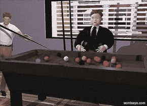 a 1st dark gray pool table. the pool table's felt is dark forest green. the ground is wood. a 1st 6.5 foot tall man is behind the pool table. his suit is black. his necktie is black. his hair is black. a 2nd man is -1 foot to the left of the pool table. a marble is in front of and -1 inch to the left of the pool table. the man faces the marble. his shirt is white. he leans 10 degrees to the left. a 8 foot tall and 2.5 inch wide black cone is  -3 foot above and -5.8 foot to the right of the 2nd man. it leans 112 degrees to the left. a 1st 3 foot tall and 50 foot wide gray wall is 10 feet behind the 1st man. a 20 foot tall and 6 foot wide window is -1 inch above the wall. the window leans 90 degrees to the left. a 2nd gray wall is -1 inch to the left of the window. a bank is 10 feet behind the window. a condominium is to the left of the bank. a huge 80% dim ghost white light is above and behind the window. a large purple light is 10 feet above the pool table. a oyster gray light is above and south of and east of the 2nd man. the ambient light is gray. the camera light is black currant.