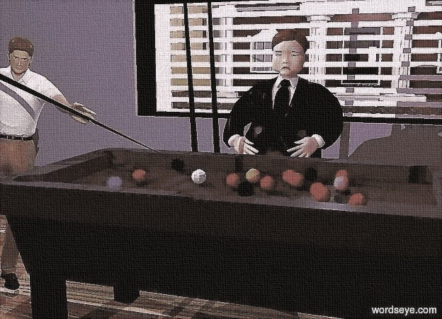 Input text: a 1st dark gray pool table. the pool table's felt is dark forest green. the ground is wood. a 1st 6.5 foot tall man is behind the pool table. his suit is black. his necktie is black. his hair is black. a 2nd man is -1 foot to the left of the pool table. a marble is in front of and -1 inch to the left of the pool table. the man faces the marble. his shirt is white. he leans 10 degrees to the left. a 8 foot tall and 2.5 inch wide black cone is  -3 foot above and -5.8 foot to the right of the 2nd man. it leans 112 degrees to the left. a 1st 3 foot tall and 50 foot wide gray wall is 10 feet behind the 1st man. a 20 foot tall and 6 foot wide window is -1 inch above the wall. the window leans 90 degrees to the left. a 2nd gray wall is -1 inch to the left of the window. a bank is 10 feet behind the window. a condominium is to the left of the bank. a huge 80% dim ghost white light is above and behind the window. a large purple light is 10 feet above the pool table. a oyster gray light is above and south of and east of the 2nd man. the ambient light is gray. the camera light is black currant.