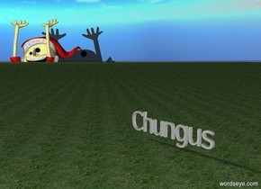 Chungus. The ground is grass. A 1000 foot tall elf is 2000 feet behind and 2000 feet to the left of chungus. The elf is 670 feet in the ground. the elf is facing chungus