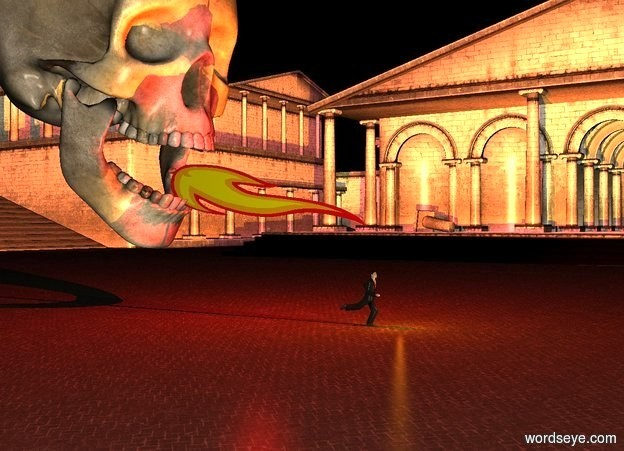 Input text: a 50 foot tall skull. it is 8 feet off the ground. it is facing east. a man is 19 feet east of the skull. he is on the ground. he is facing east. a huge flame is -7 foot east of the skull. it is 29 feet tall. it is 6 feet wide. it is leaning 99 degrees to the west. it is 9 feet off the ground. it is night. a huge red light is above the flame. a huge orange light is below the flame.
