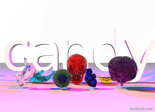 "Input text: The ground is white. The sky is white. ""candy"". A clear red skull is in front of ""candy"". A large translucent aqua hand is 4 inches to the left of the skull. The hand leans 90 degrees to the right. A large clear gold mouth is 4 inches to the right of the skull. A very large clear green eye is 6 inches in front of and 1 inch to the right of the hand. A hot pink clear stomach is 6 inches to the left of the eye. A clear purple brain is 12 inches to the right of the eye. A clear blue heart is 4 inches to the right of the eye. A red light is 1 foot in front of and 1 foot above the skull. A blue light is 1 foot behind and 1 foot above ""candy"""