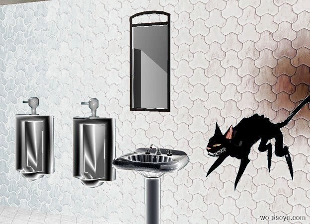 Input text: a 1st tile wall. a white tile floor is in front of the wall. a sink is in front of the wall. it is over the floor. a 1st urinal is 1 foot to the left of the sink.  it is 1.5 foot above the ground. a 2nd urinal is 1 foot to the left of the 1st urinal. a white mirror is 1 foot above the sink.  a 2nd wall is -1 foot to the left of and in front of the 1st wall. it faces left. a 3rd 20 foot tall wall is in front of the floor.   a black cat is  above and 2 feet to the right of and 2 foot in front of the sink. it faces southwest.