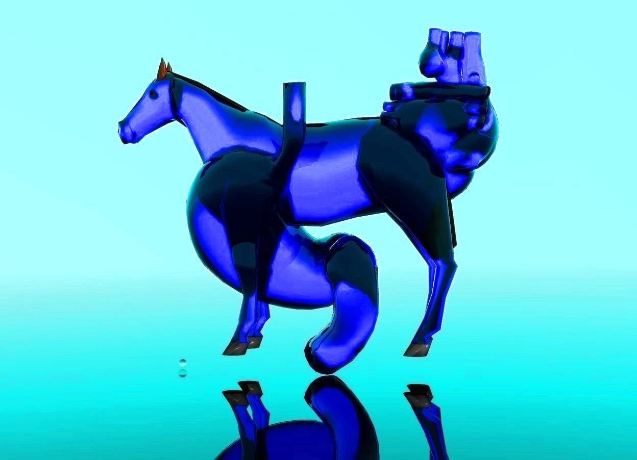 Input text: the ground is clear. the sky is light aqua. there is a very large clear blue stomach. a small clear blue horse is 3 feet in the stomach. a marble is to the right of the stomach. the horse faces the marble. a  very large clear blue heart is in the horse. the heart is .00001 inch to the left of the stomach.