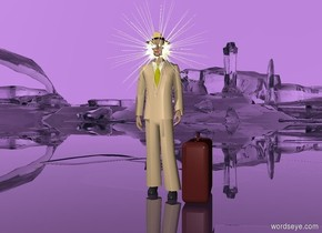 the ground is clear. the sky is lavender. THERE is a man. the suit of the man is tan. a brown suitcase is to the right of the man. the suitcase faces the right. a reflective symbol is 2.3 feet in the man. a small hat is 1.7 feet in the symbol.