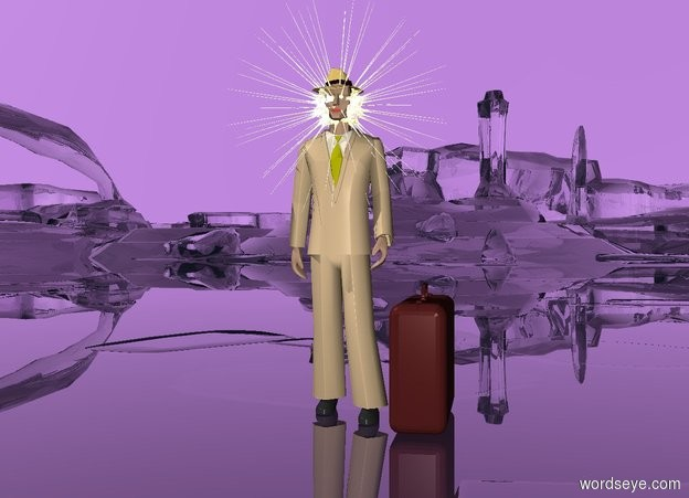 Input text: the ground is clear. the sky is lavender. THERE is a man. the suit of the man is tan. a brown suitcase is to the right of the man. the suitcase faces the right. a reflective symbol is 2.3 feet in the man. a small hat is 1.7 feet in the symbol.