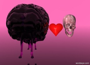 the sky is hot pink. the ground is clear. there is a very large purple clear brain. the brain is 1 foot above the ground. a clear purple dog is 3.7 feet in the brain. a large pink bone is 2 feet to the right of the dog. the bone is 2 feet above the ground. A small heart is to the left of the bone.