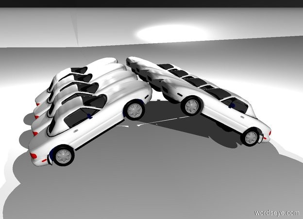 Input text: a 20 inch tall  white 1st car.the hair of the 1st car is white.the 1st car is facing west.the 1st car leans 30 degrees to back.a 800 inch tall and 900 inch wide silver wall is left of the 1st car. the wall is facing right.two white lights are above the 1st car.ground is white.sky is black.a 2nd 20 inch tall white car is behind the 1st car.the 2nd car leans 30 degrees to back.the 2nd car is facing west.a 3rd 20 inch tall white car is behind the 2nd car.the 3rd car leans 30 degrees to back. the 3rd car is facing west.a 4th 20 inch tall white car is behind the 3rd car.the 4th car leans 30 degrees to back.the 4th car is facing west.a 5th 20 inch tall white car is in front of the 1st car.the 5th car is -6 inch left of the 1st car.the 5th car is facing north.