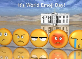 The 5 emojis. The very tiny White House is 40 feet behind the emojis. the ground is shiny.