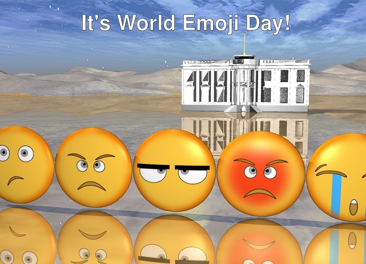 Input text: The 5 emojis. The very tiny White House is 40 feet behind the emojis. the ground is shiny.
