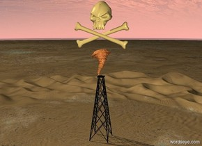 A gigantic skull and crossbones symbol is above a tiny fire tornado. The tornado is above an oil derrick.