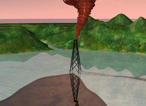 The fire tornado is above an oil derrick. It is -25 feet west of it.  A transparent gray lake is in front of the derrick.